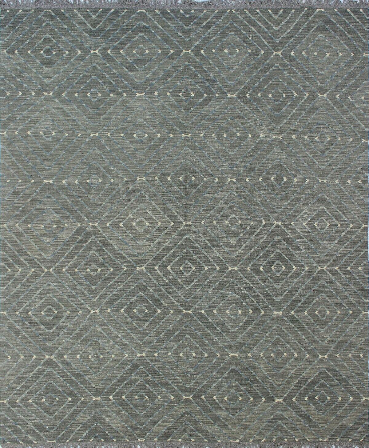 Ackworth Kilim Hand Woven Wool Rectangle Gray Area Rug