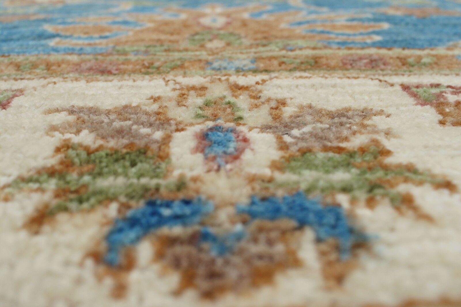 Longoria Chobi Knotted 100% Wool Rectangle Blue Area Rug