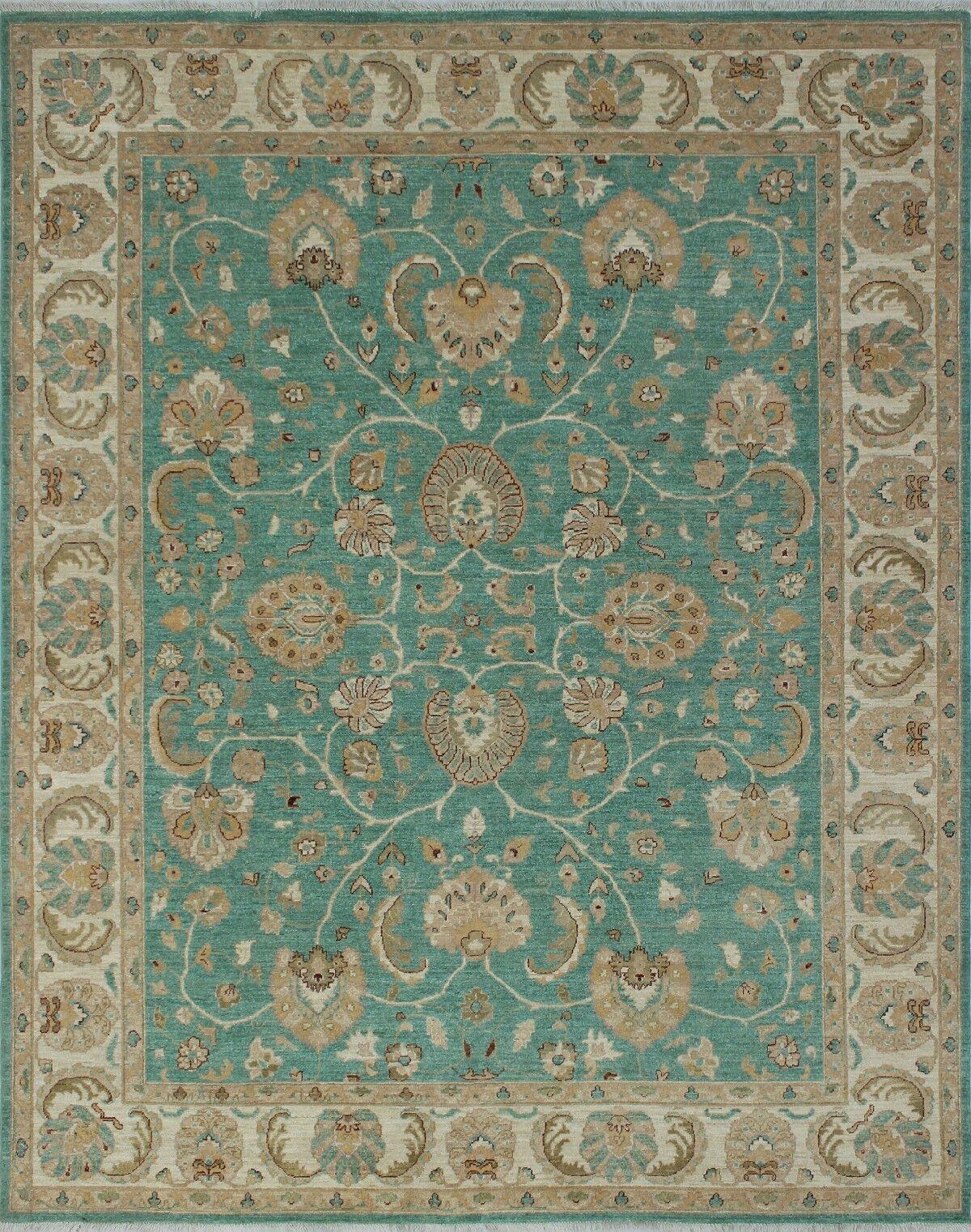 Longoria Chobi Knotted Wool Green Area Rug