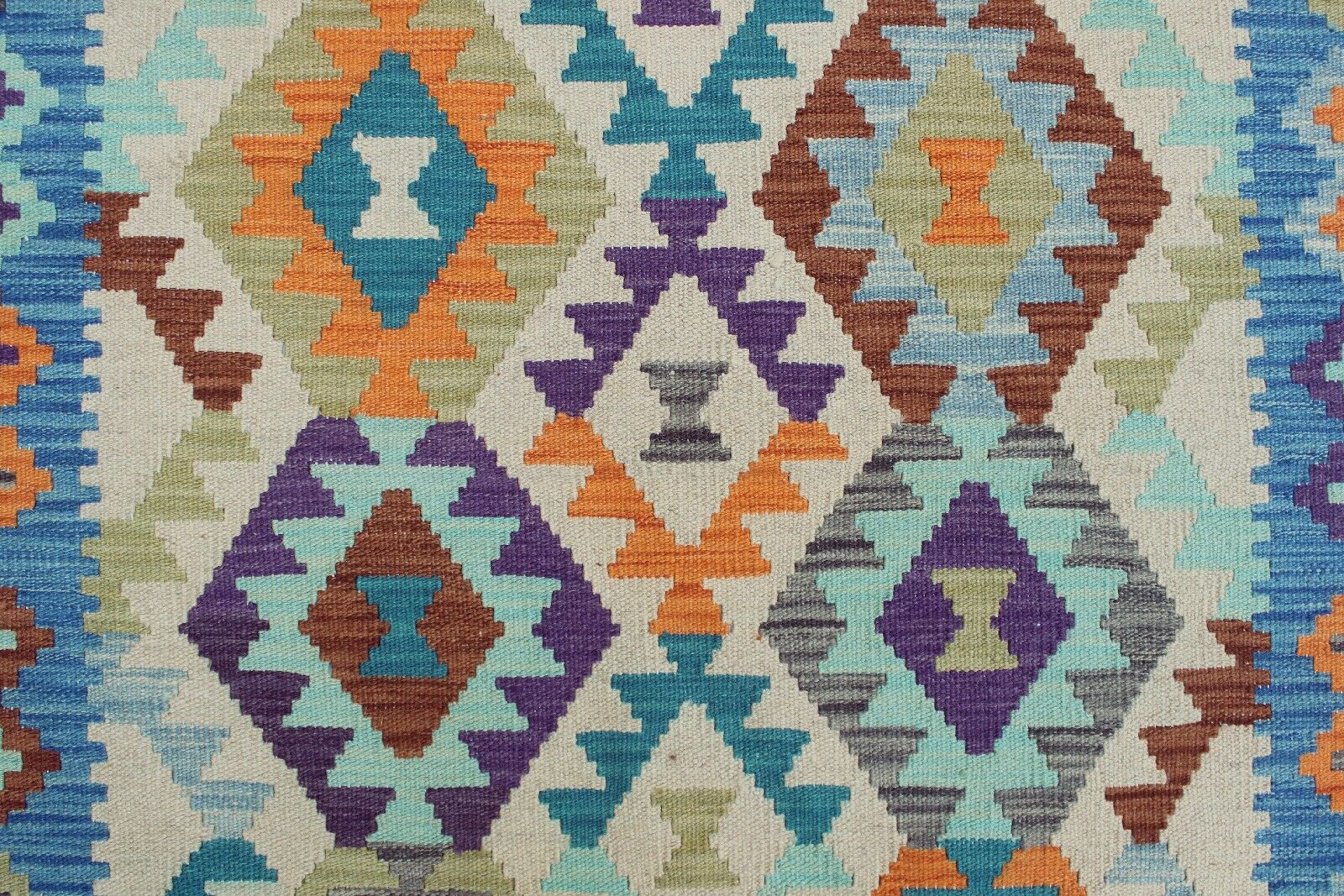 Rucker Kilim Hand Woven Wool Blue/Orange Southwestern Area Rug