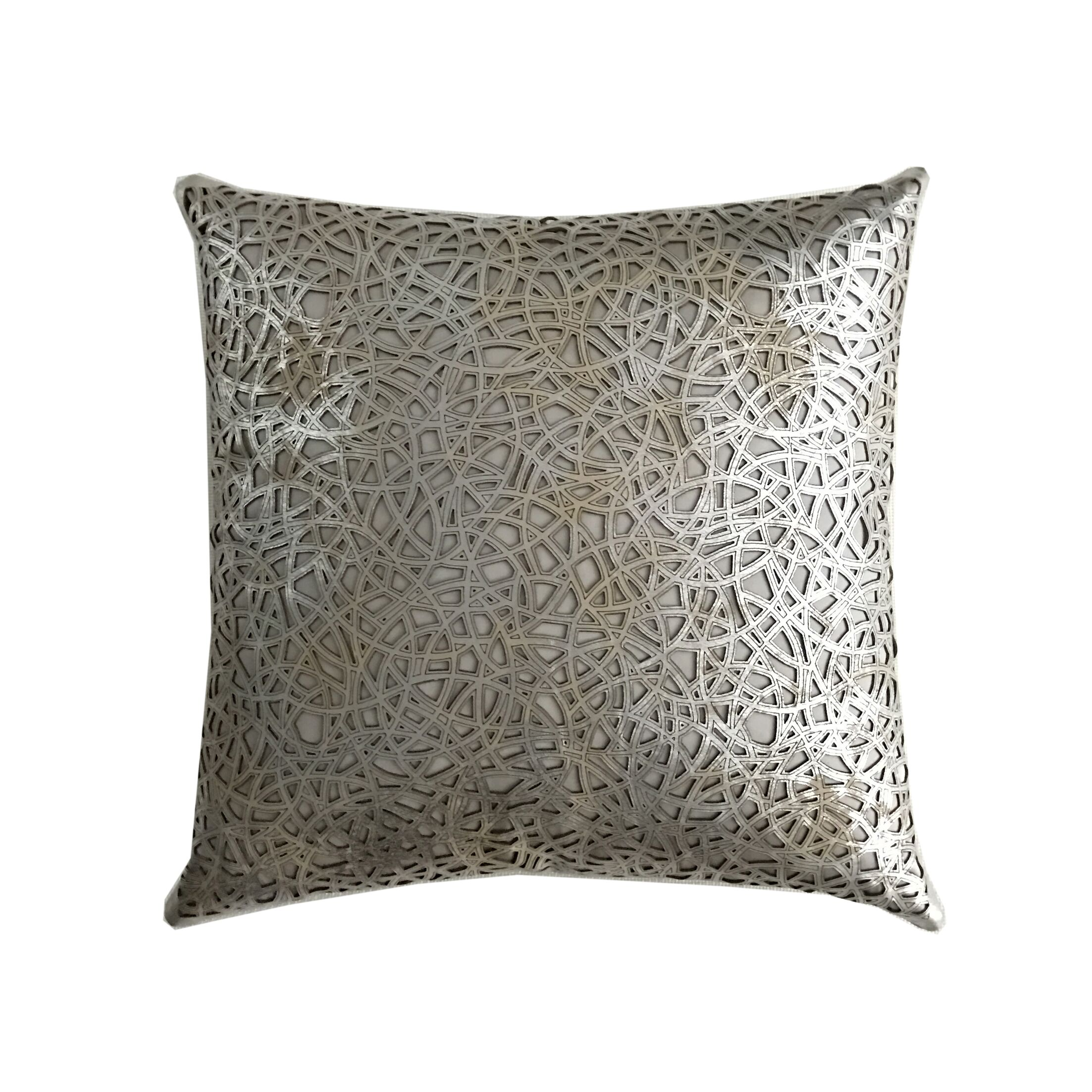 Medallion Leather Throw Pillow Color: Silver/Beige