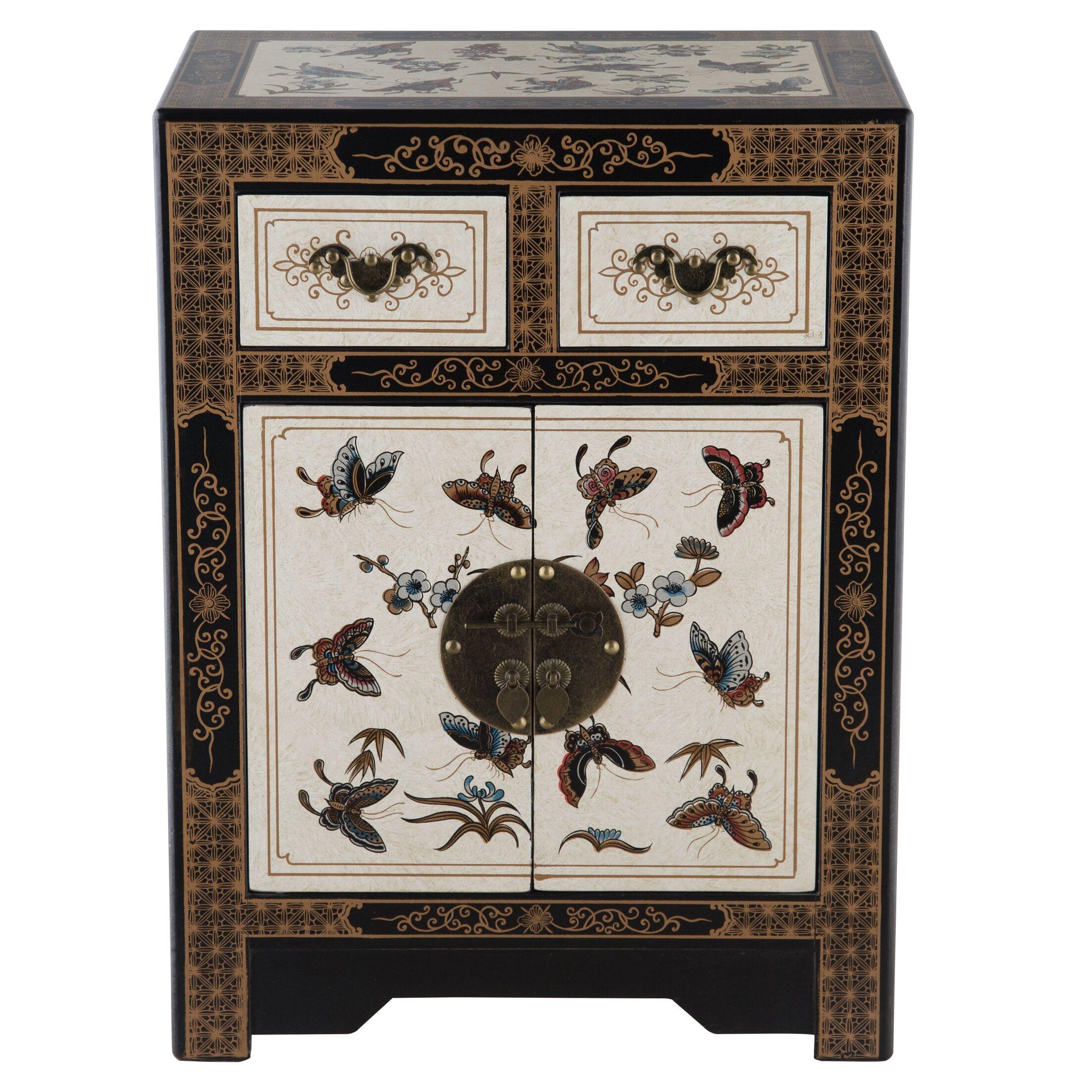Oriental Antique Style 2 Drawer Nightstand
