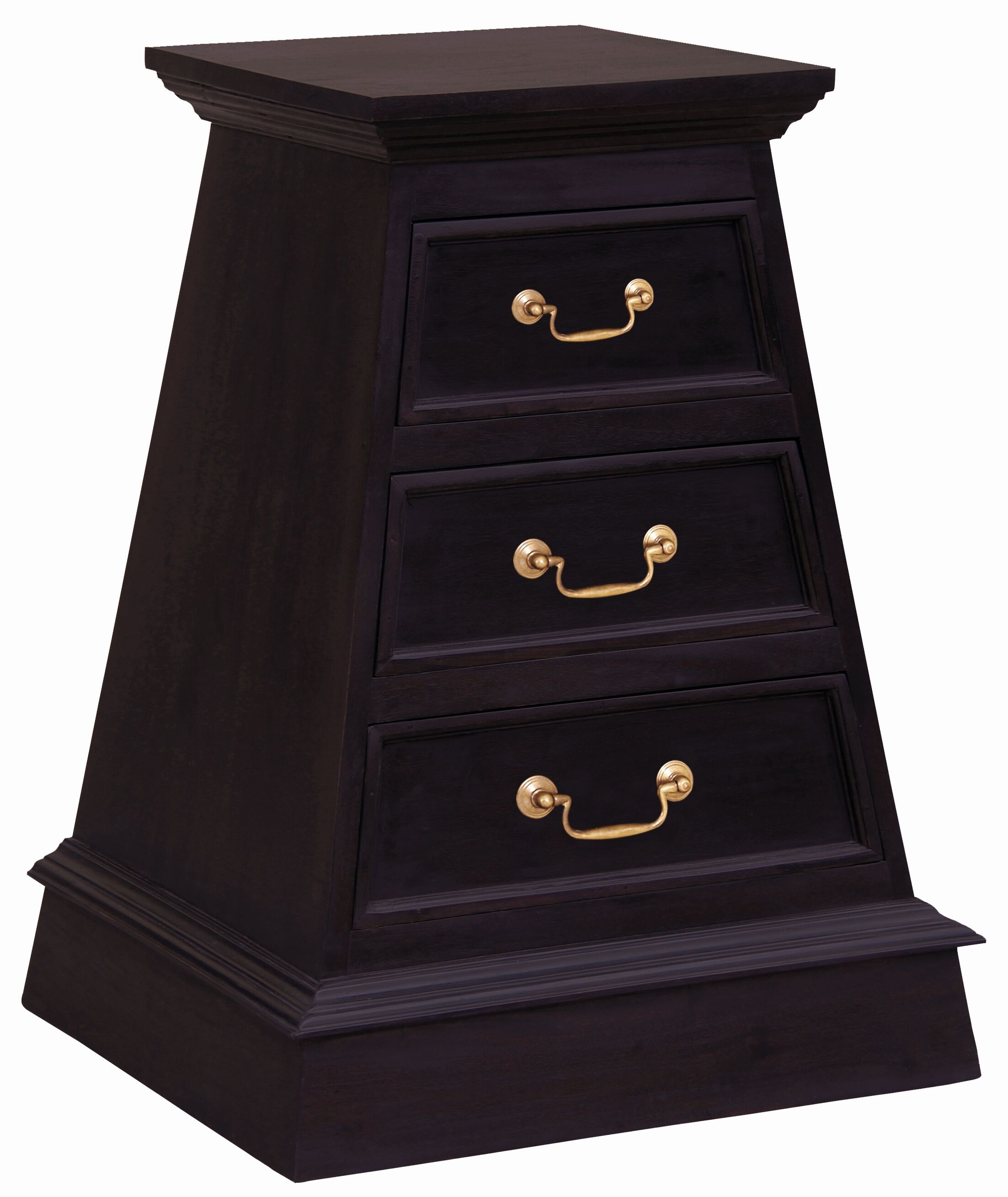 Cairo Fine Handcrafted Solid Mahogany Wood 3 Drawer Nightstand Color: Chocolate