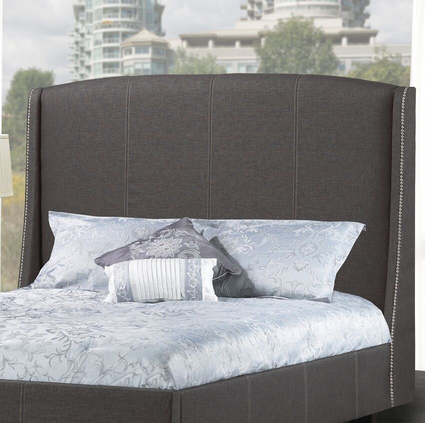Beamer Upholstered Wingback Headboard Upholstery: Charcoal, Size: Double