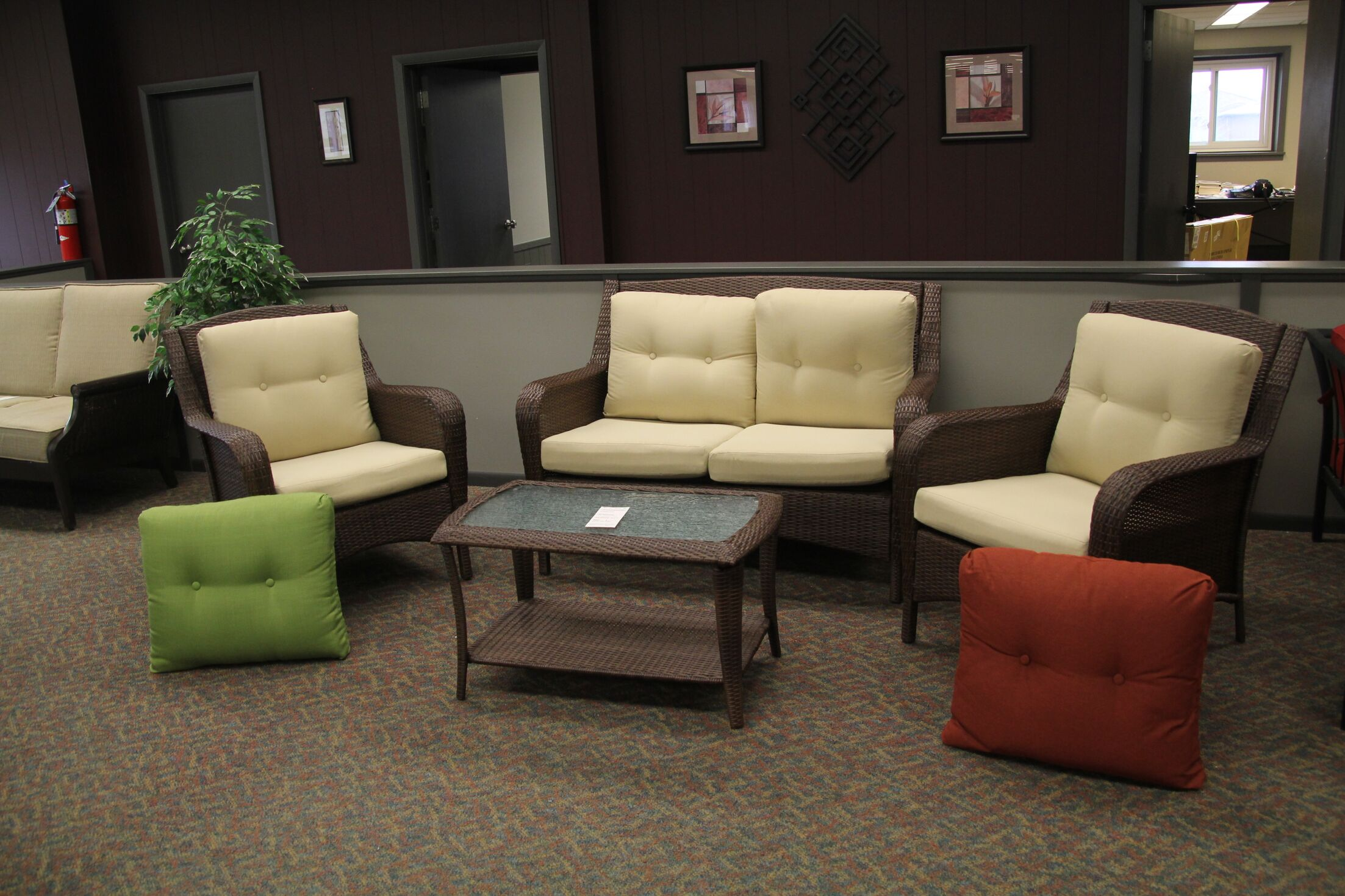 Woodview 4 Piece Rattan Sofa Seating Group with Cushions
