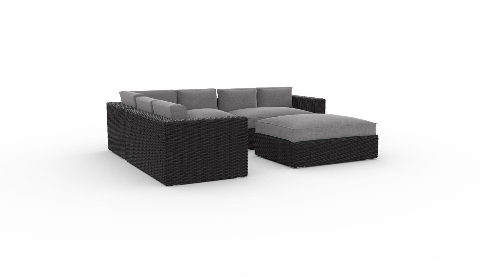 Boothe 5 Piece Rattan Sunbrella Sectional Set with Cushions Cushion Color: Cast Slate