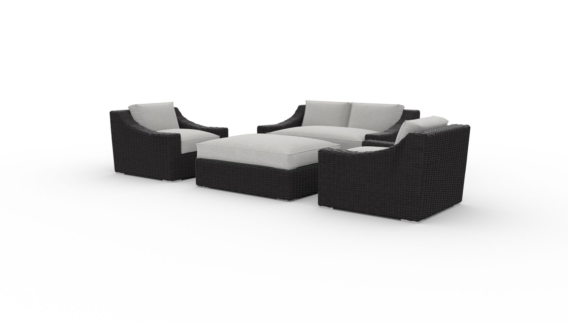 Boothby 4 Piece Rattan Sunbrella Sofa Set with Cushions Cushion Color: Cast Silver