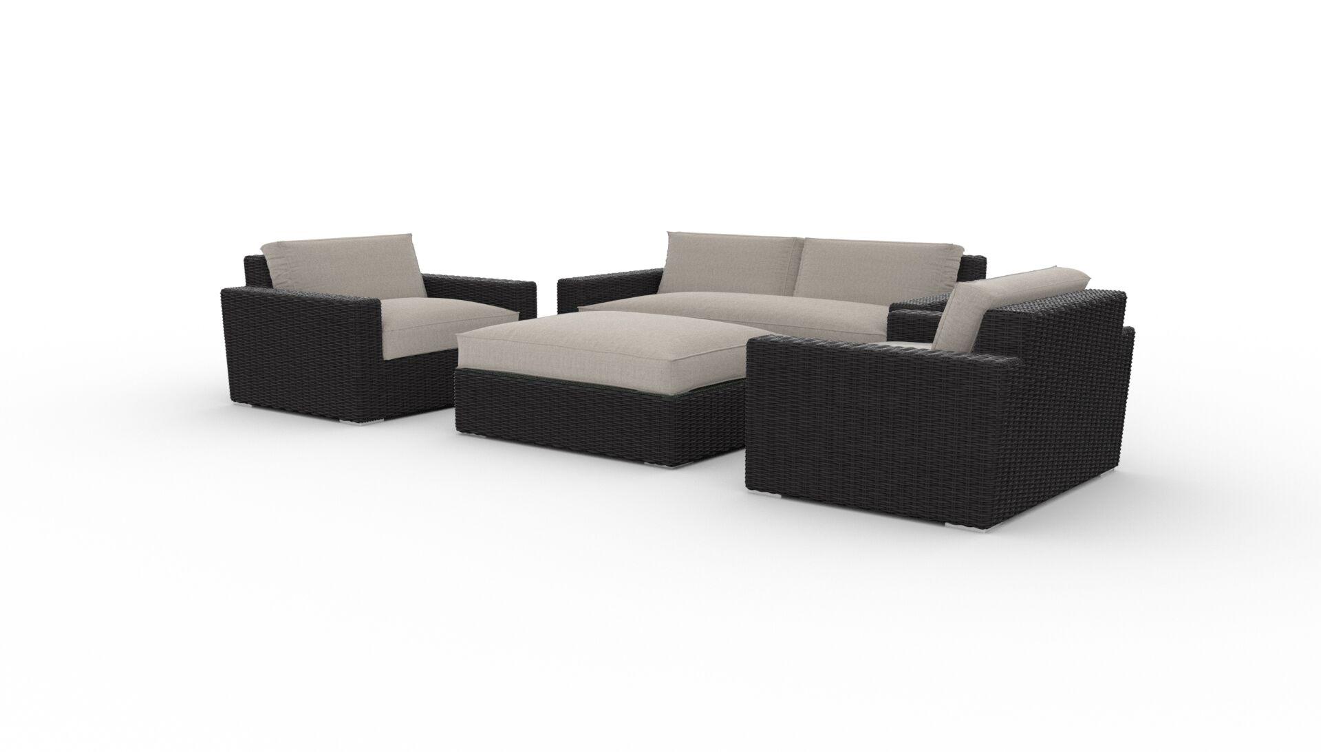 Borba 4 Piece Rattan Sunbrella Sofa Set with Cushions Cushion Color: Cast Ash