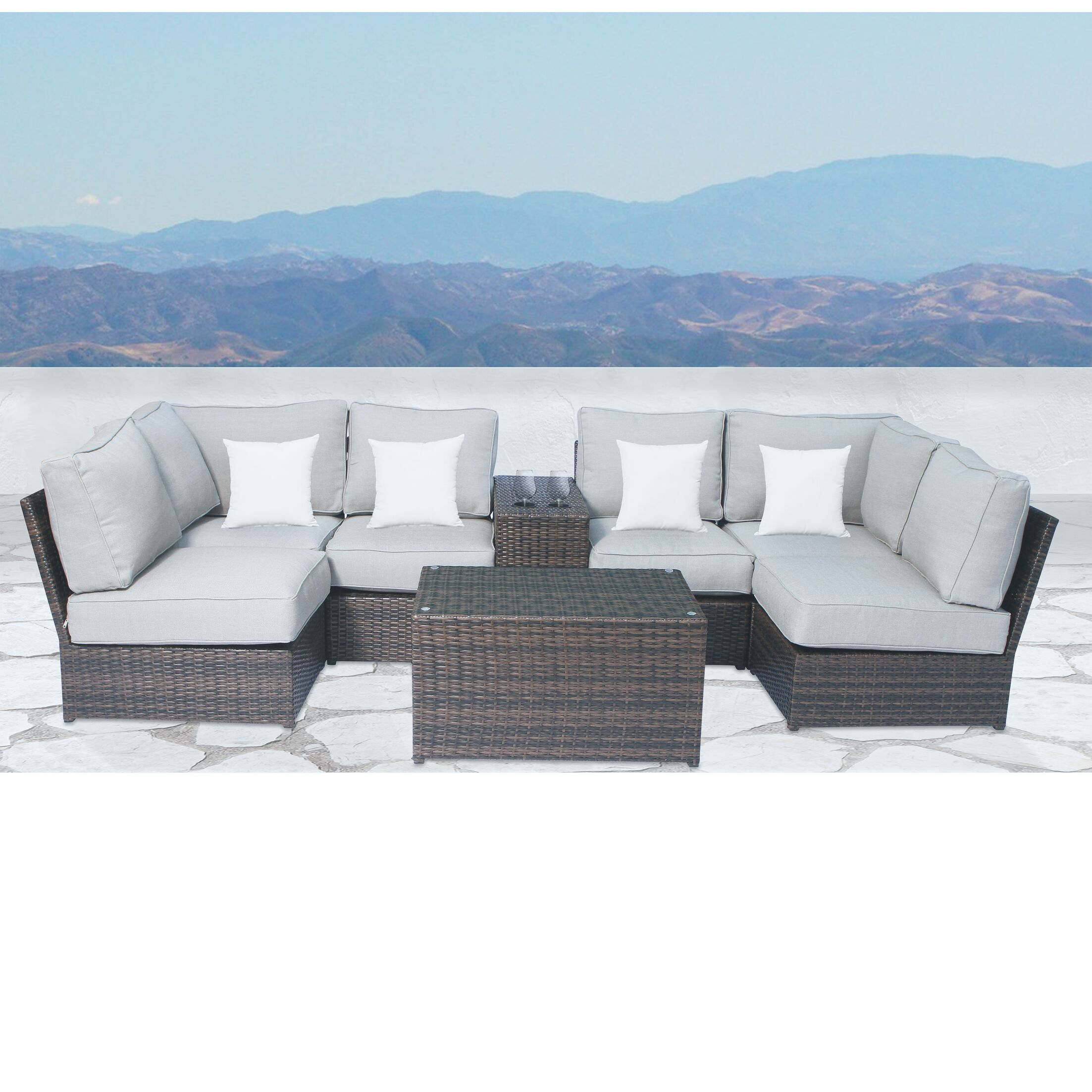 Simmerman 8 Piece Sectional Set with Cushions