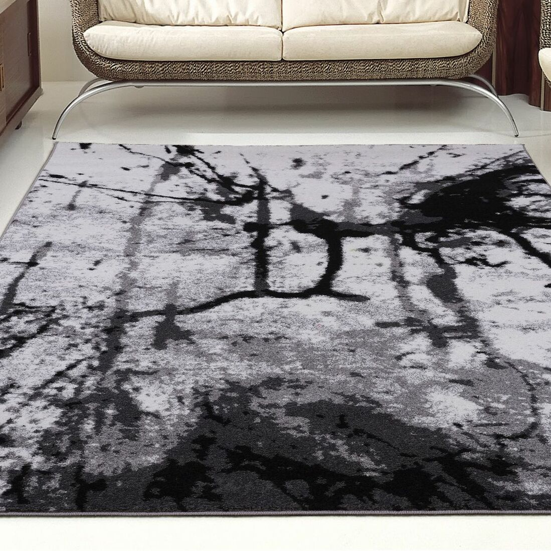 Anise Gray/Black Area Rug Rug Size: Rectangle 5'2