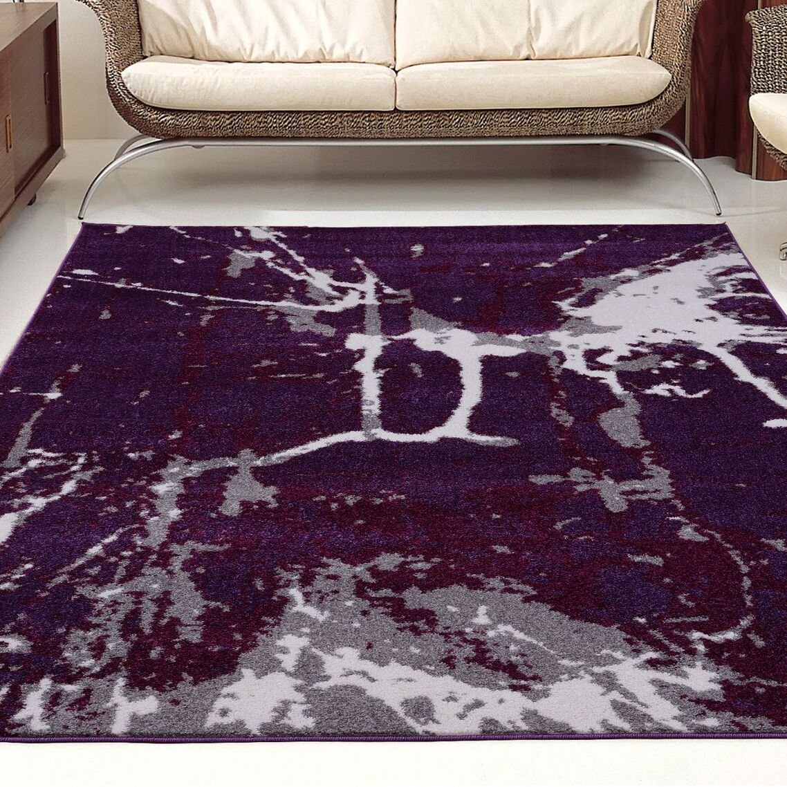 Anise Dark Violet/Gray Area Rug Rug Size: 6'5