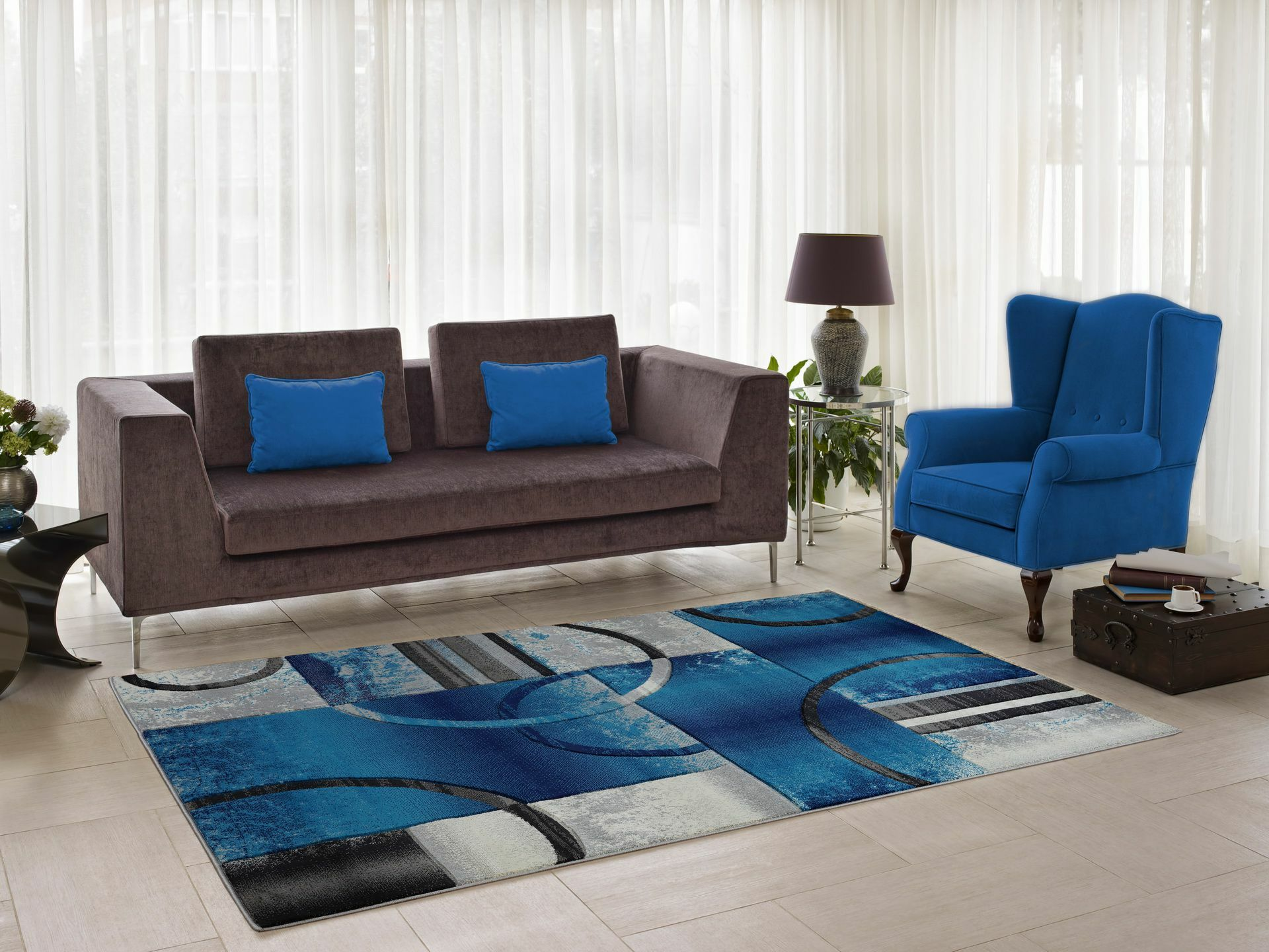 Collier Blue/Gray Area Rug Rug Size: Runner 2'7