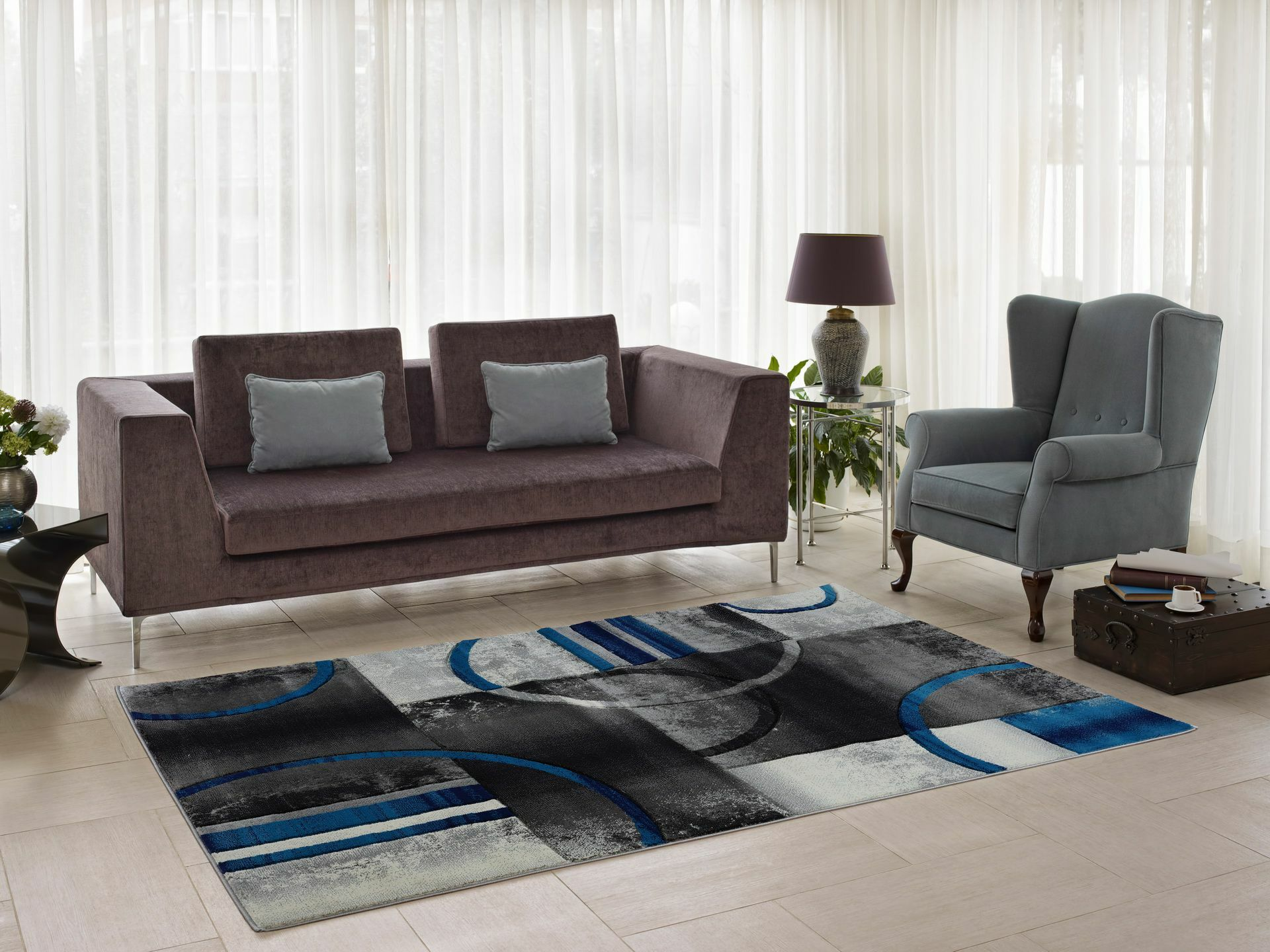Collier Gray/Blue Area Rug Rug Size: Rectangle 5'2