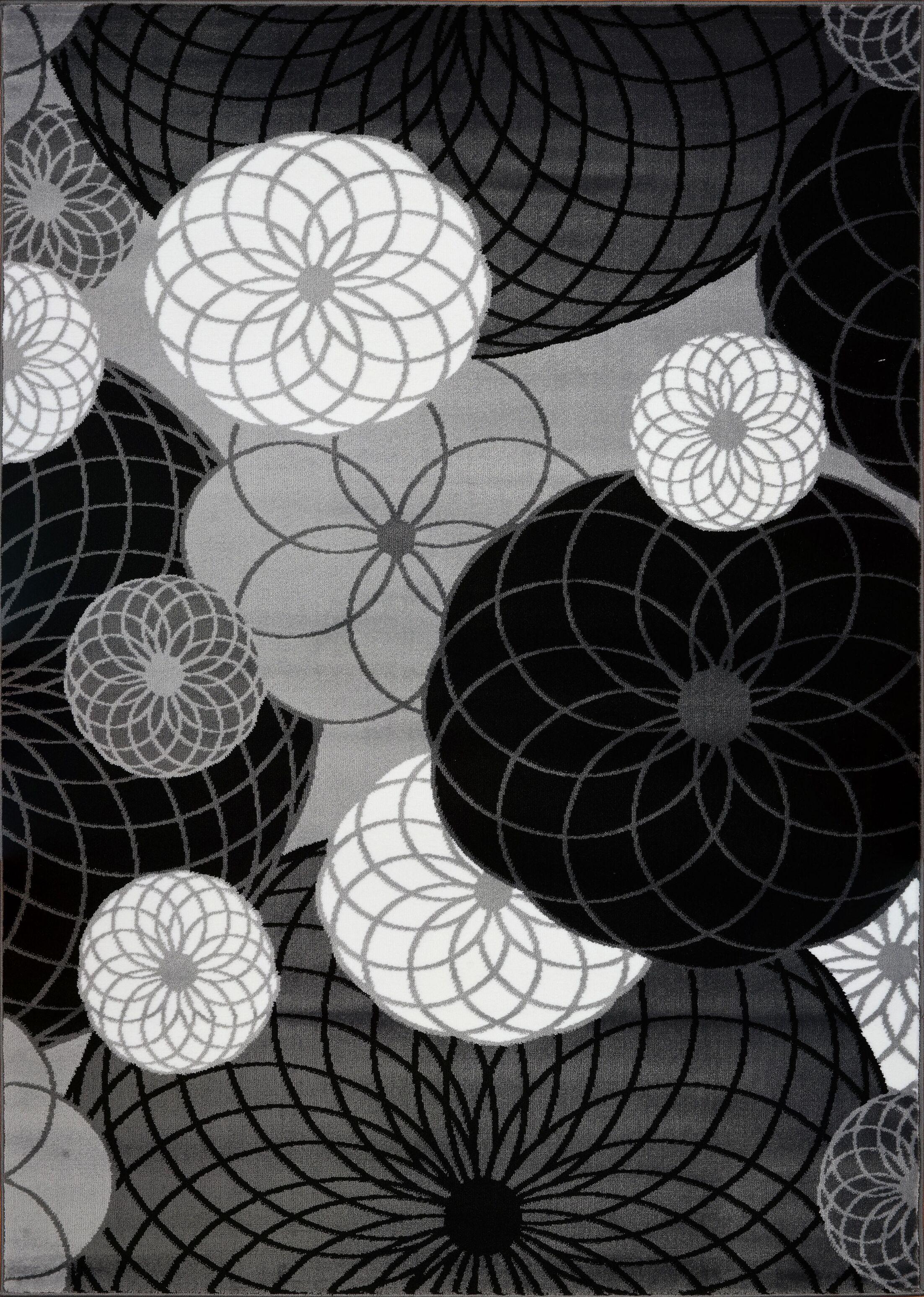 Kasen Circles Black/Gray Area Rug Rug Size: 7'10