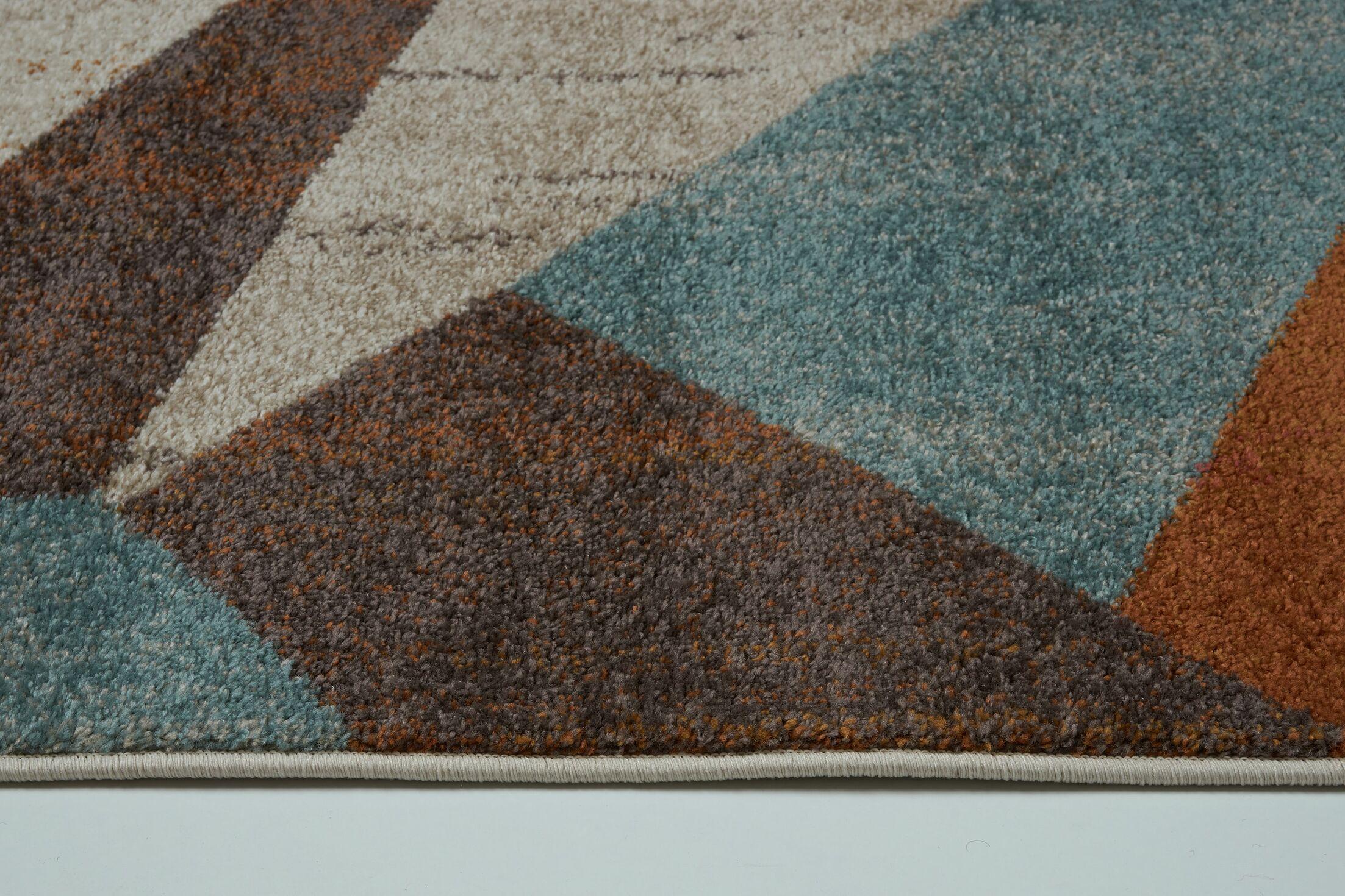 Vogler Cream/Brown/Blue Area Rug Rug Size: Rectangle 5'2
