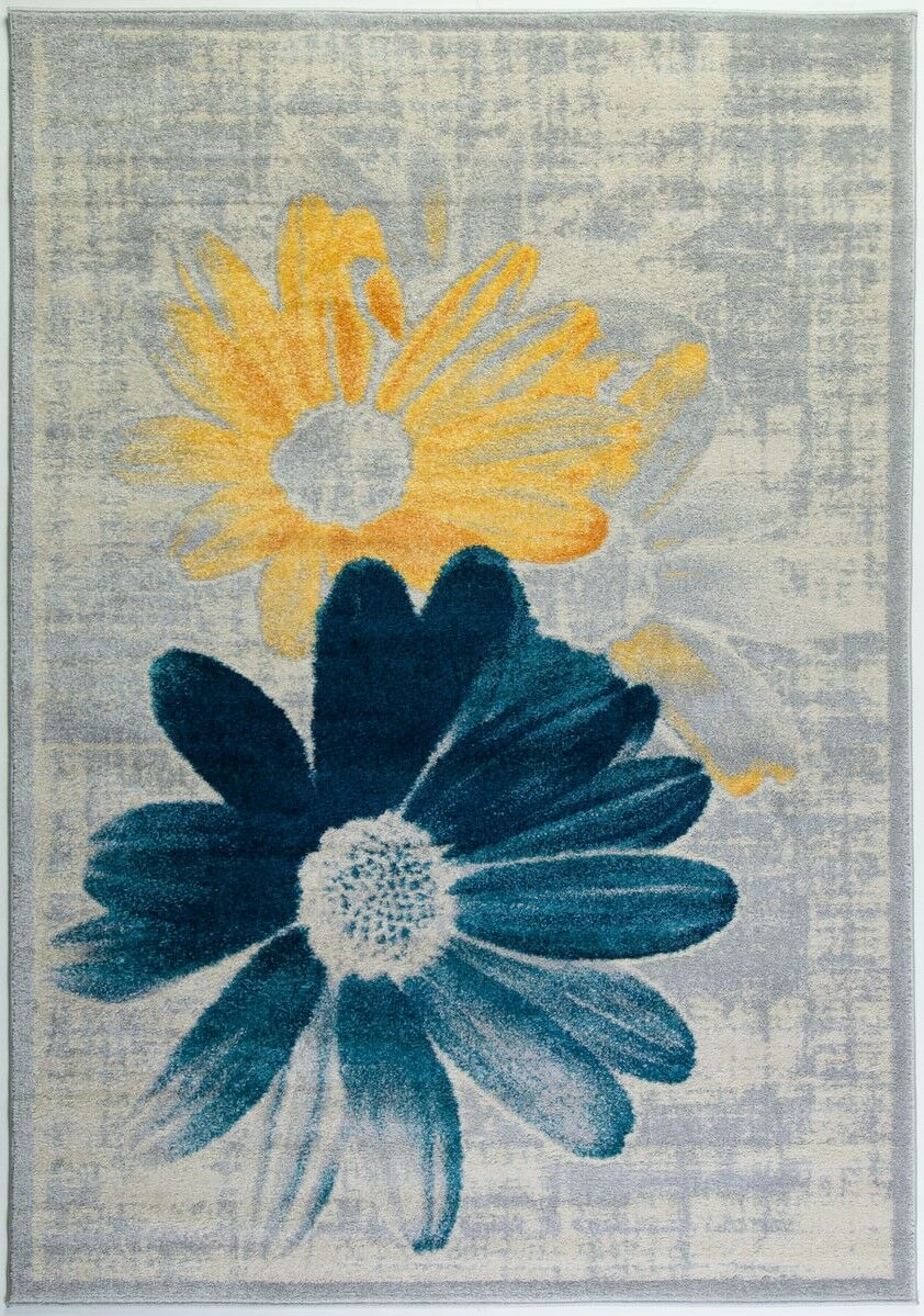 Criddle Flower Teal/Yellow Area Rug Rug Size: Rectangle 7'10