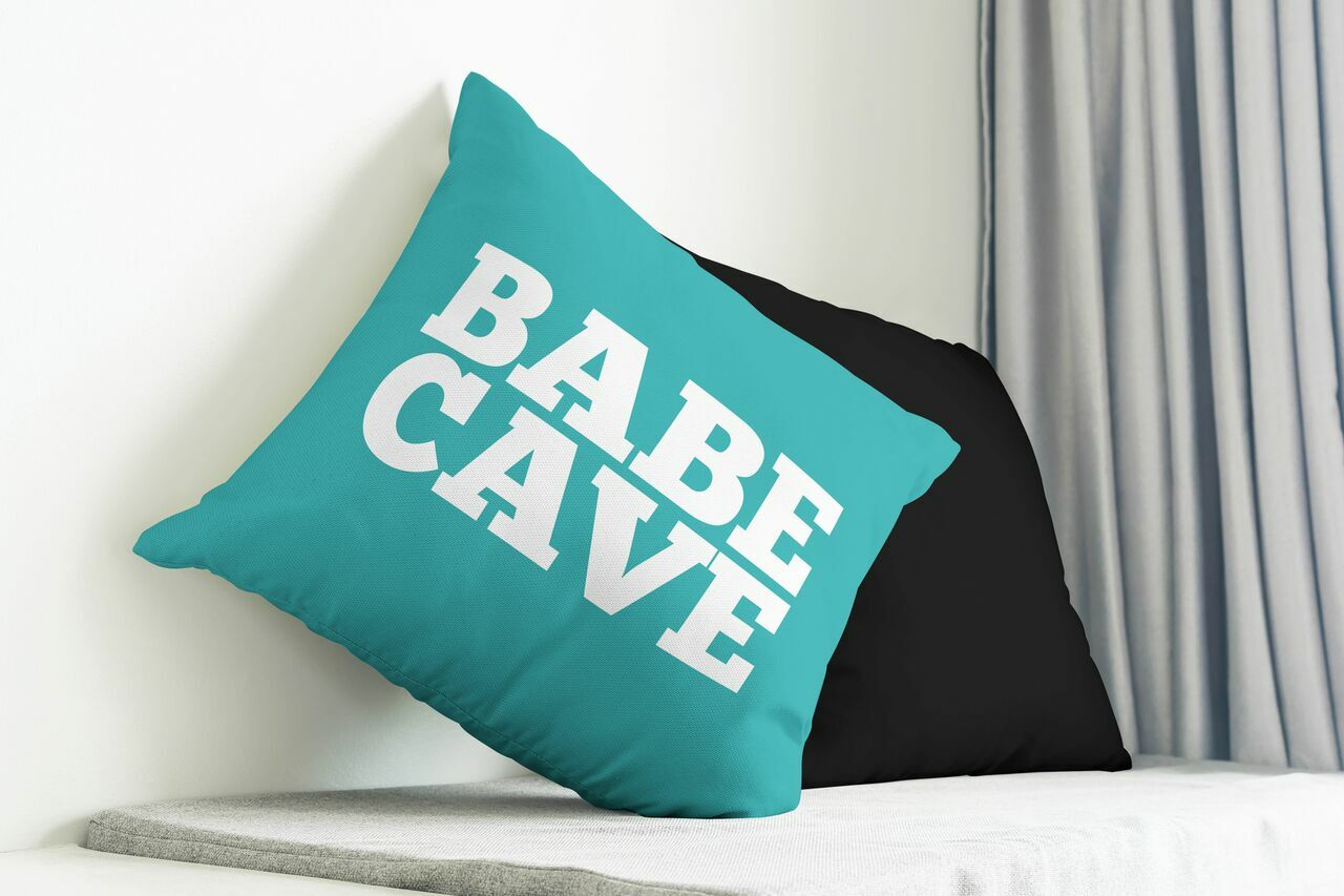 Babe Cave Throw Pillow Size: 20