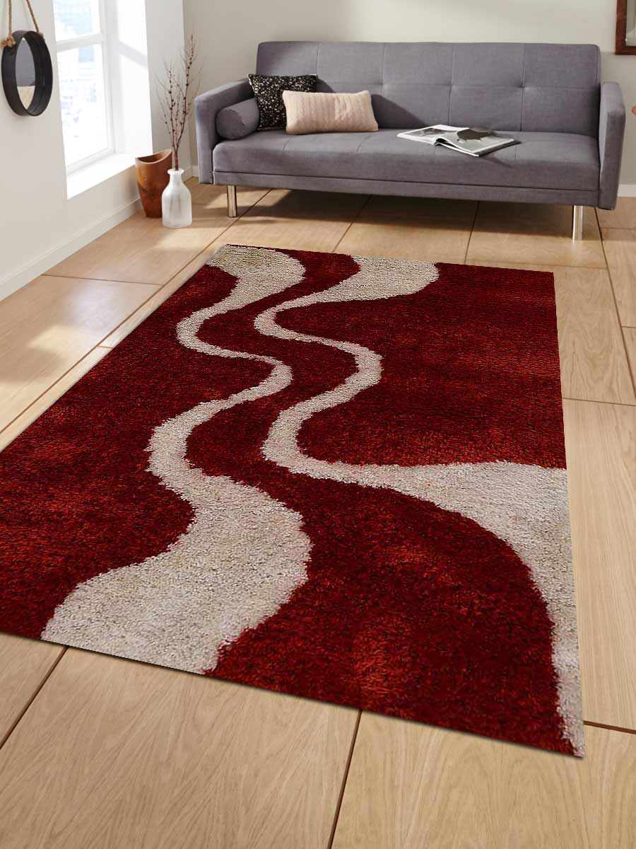 Lisse Abstract Hand-Woven Red/White Area Rug Rug Size: Rectangle 9' x 12'