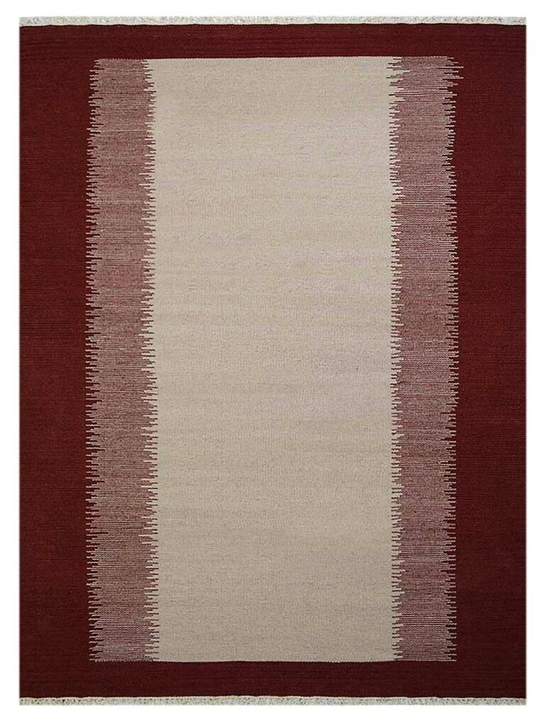 Countryside Hand-Woven Wool Cream/Wine Area Rug Rug Size: 10' x 16'