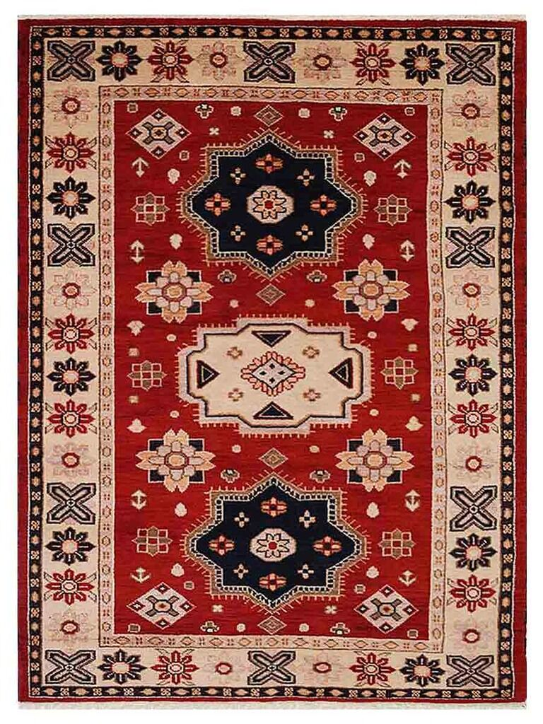 Corrin Hand-Woven Red/Cream Area Rug Rug Size: Rectangle 5' x 8'