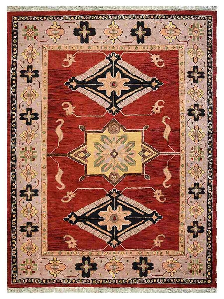 Corrin Hand-Woven Red/Beige Area Rug Rug Size: Rectangle 5' x 8'