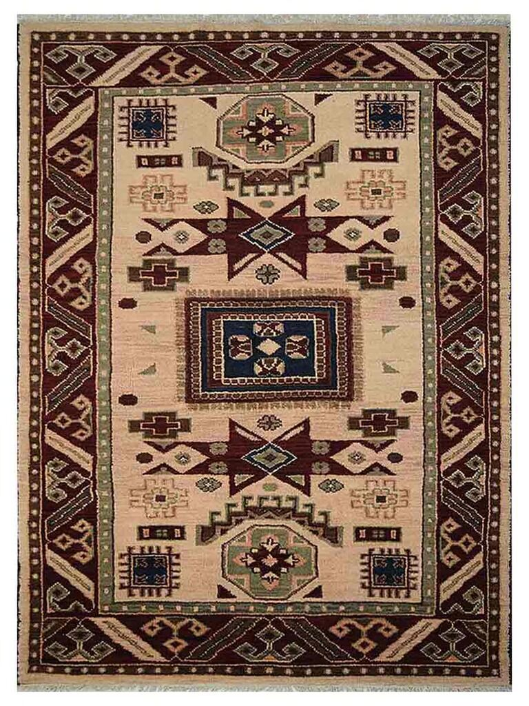 Corrin Hand-Knotted Cream/Burgundy Area Rug Rug Size: Rectangle 6' x 9'
