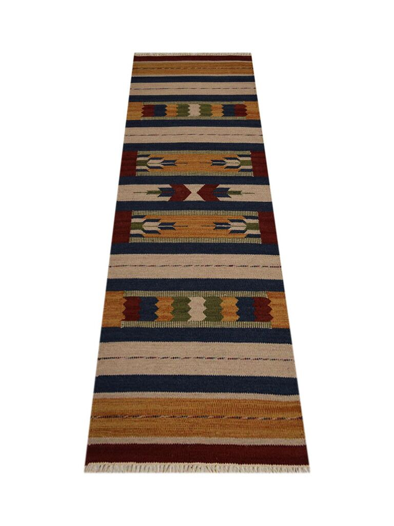 Clairan Hand-Woven Brown/Blue Area Rug Rug Size: Runner 2'6