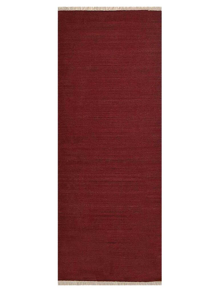 Coturnix Hand-Woven Wool Red Area Rug Rug Size: Runner 2'6