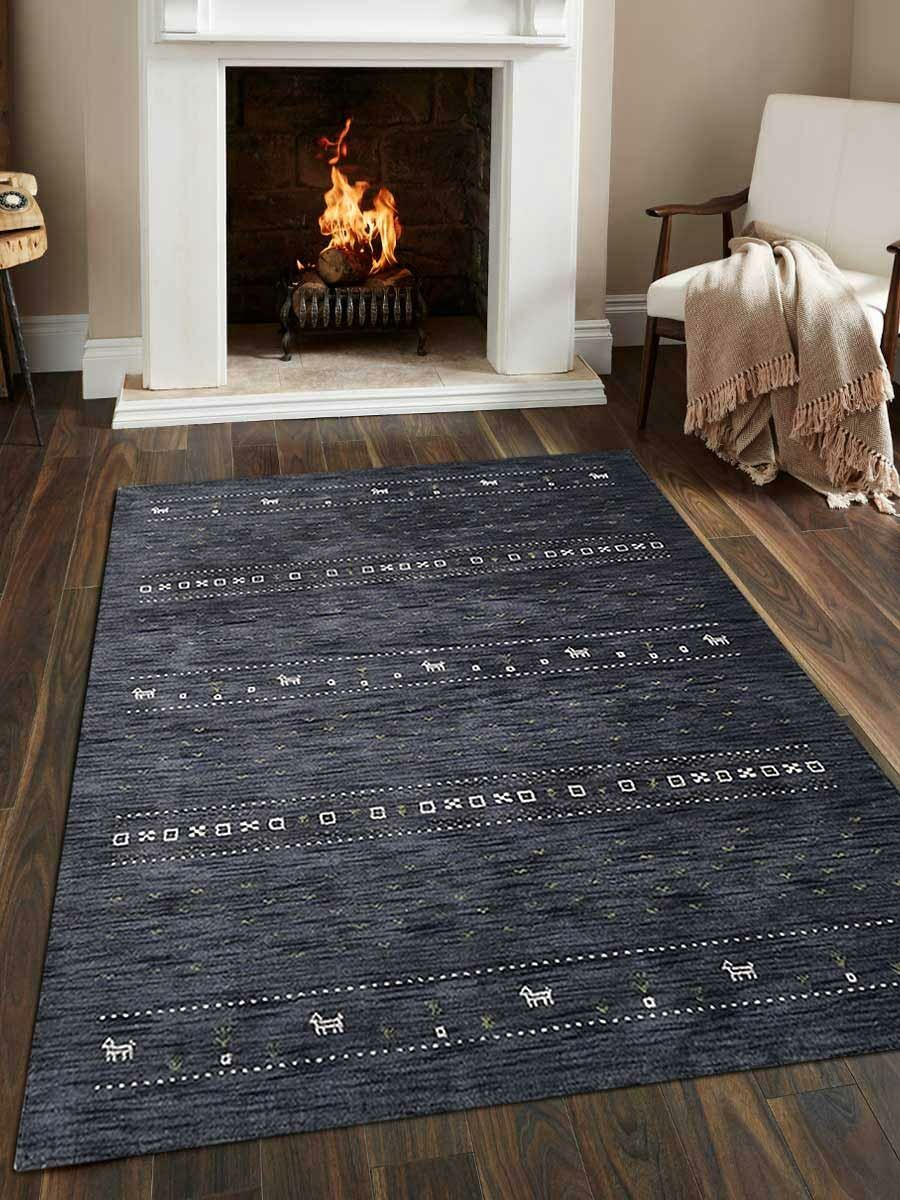 St Catherine Hand-Knotted Wool Charcoal Area Rug Rug Size: Rectangle 6' x 9'