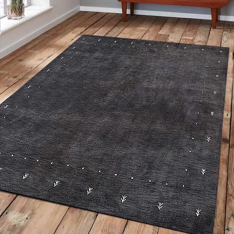 St Catherine Hand-Knotted Wool Charcoal Area Rug