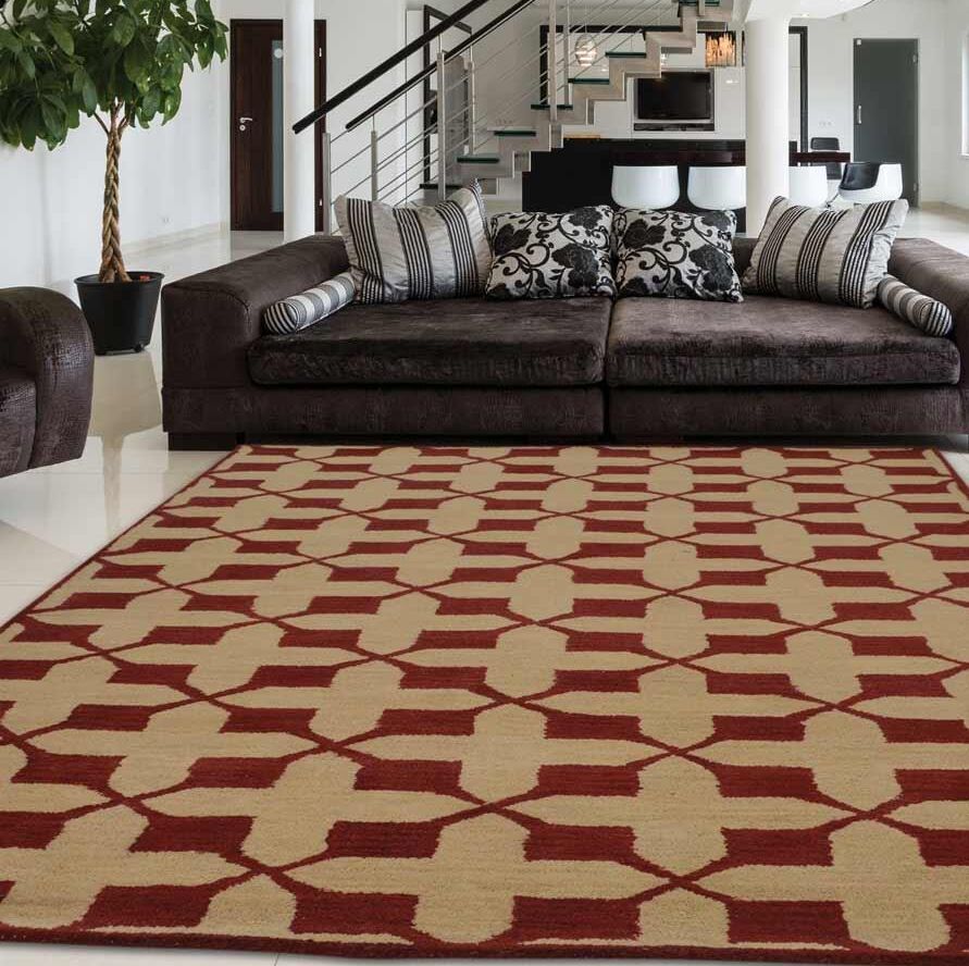 Creager Hand-Tufted Wool Beige/Red Area Rug