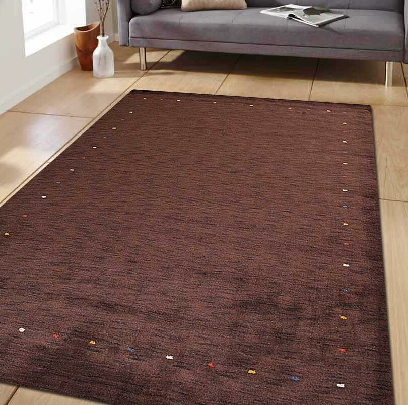 Creager Hand-Tufted Wool Brown Area Rug Rug Size: Rectangle 6' x 9'