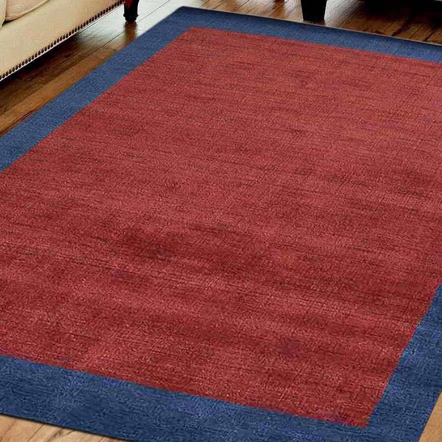 Creager Hand-Knotted Wool Red/Blue Area Rug