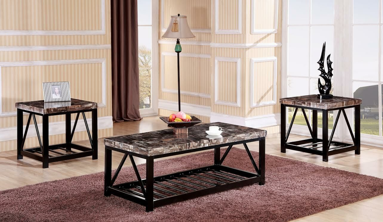 Rosalin Faux Marble Metal Frame 3 Piece Coffee Table Set