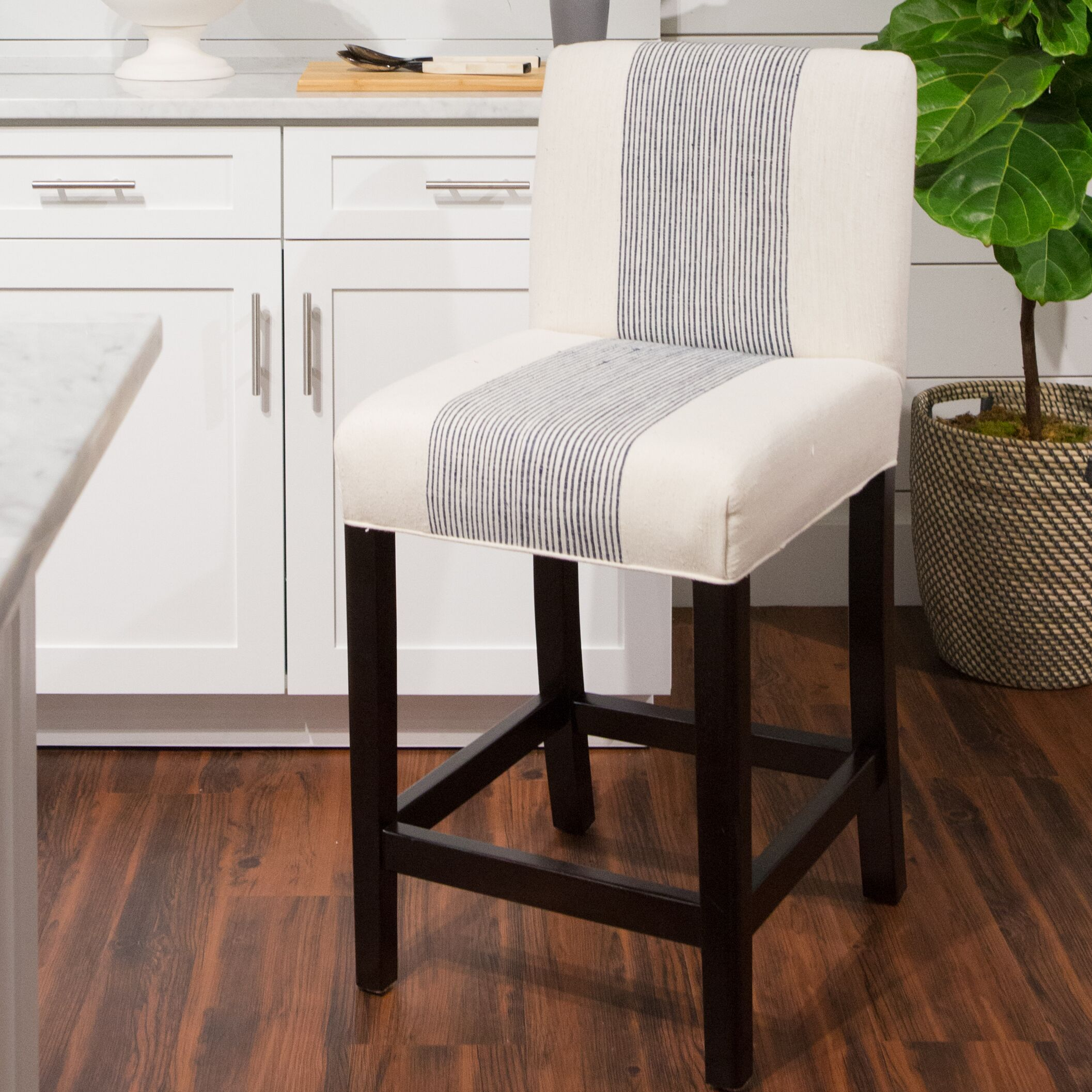 Darby Bar Stool Upholstery: Cobalt/ Natural Stripe
