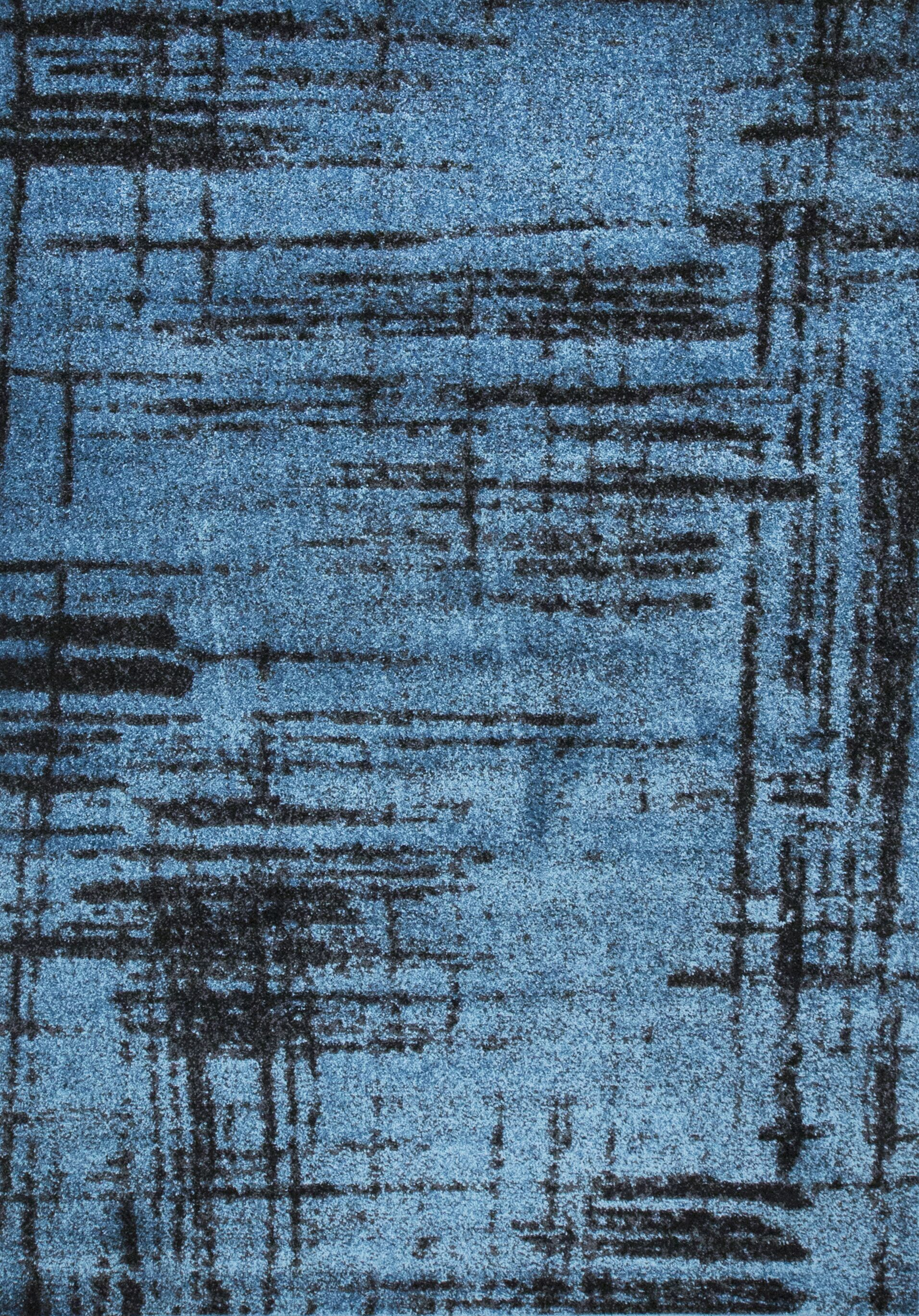 Graze Plain Blue/Gray/Black Area Rug Rug Size: 5' x 7'5