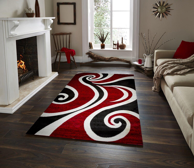 Mckenzie Red/Black/White Area Rug Rug Size: 5' x 7'