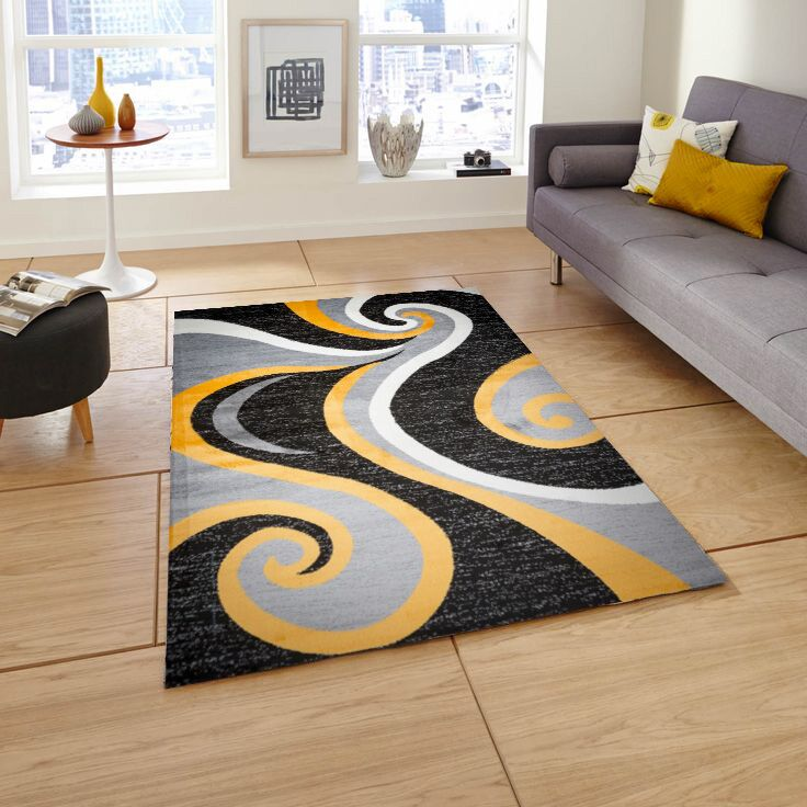 Mckenzie Black/Gray/Yellow Area Rug Rug Size: 8' x 10'