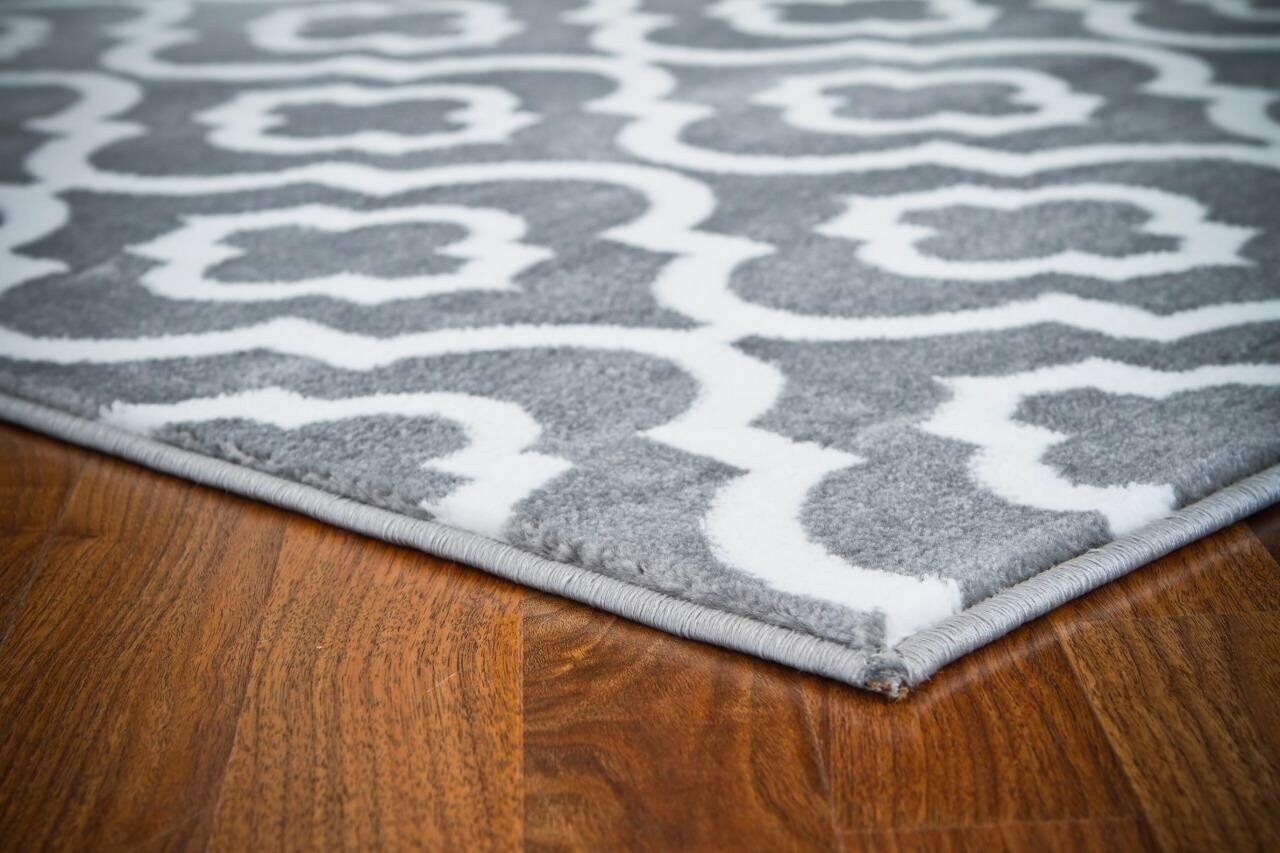 Mirror Rehash Gray/White Area Rug Rug Size: Rectangle 8' x 10'
