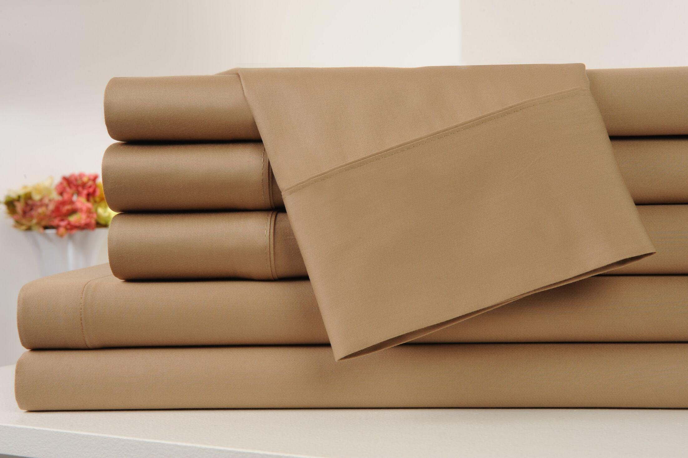 Kendele 400 Thread Count 100% Cotton Sheet Set Color: Mocha, Size: Full