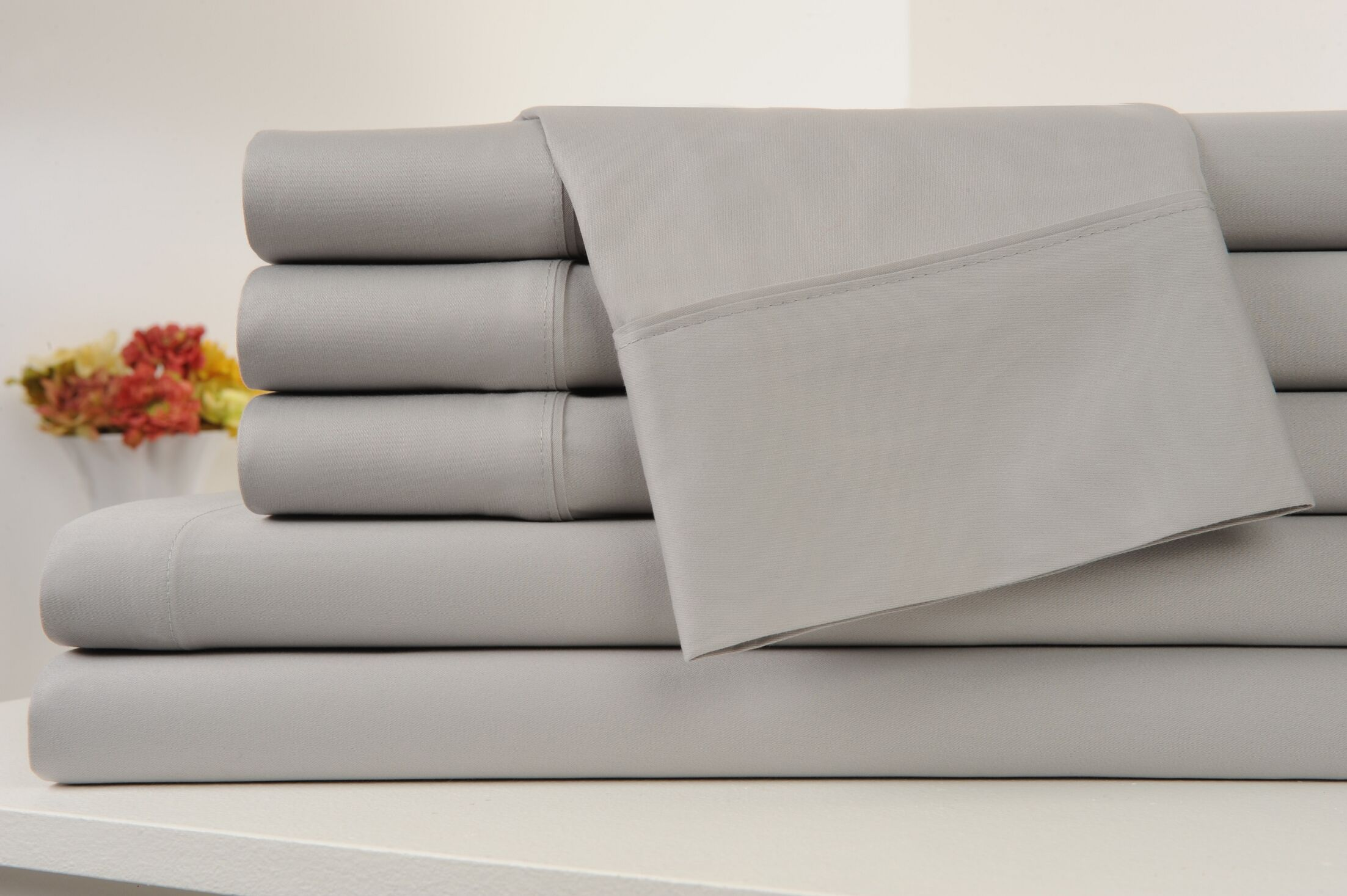 Kendele 400 Thread Count 100% Cotton Sheet Set Color: Silver, Size: Full