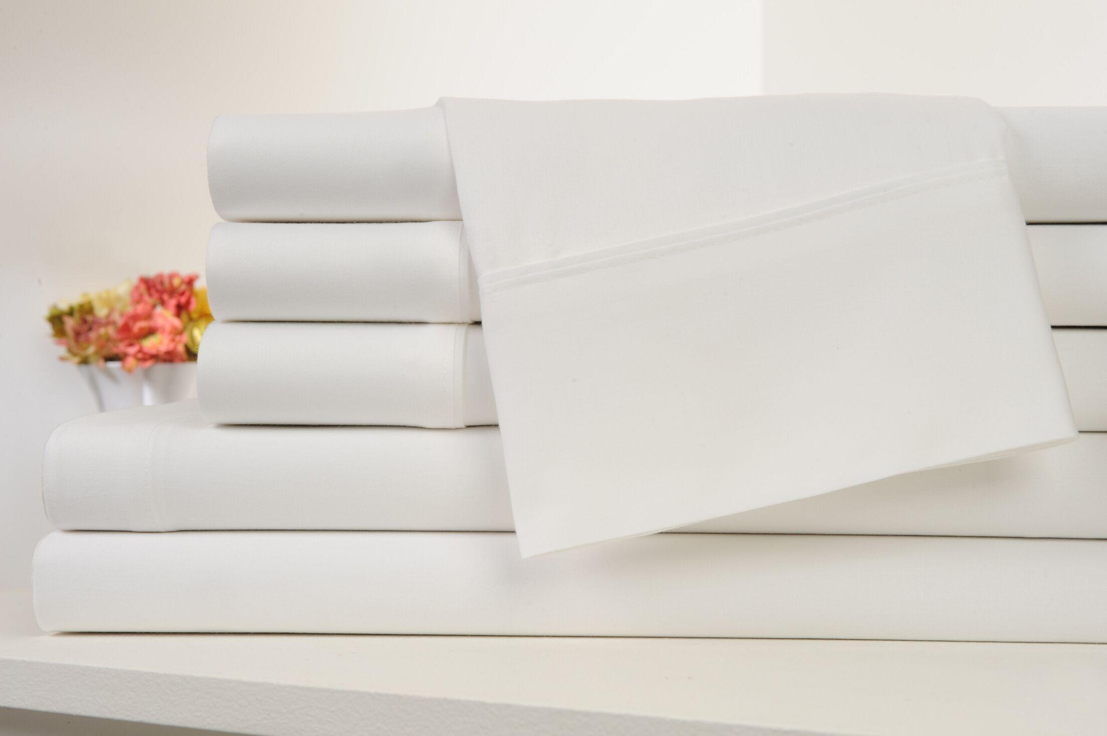 Kendele 400 Thread Count 100% Cotton Sheet Set Color: White, Size: King