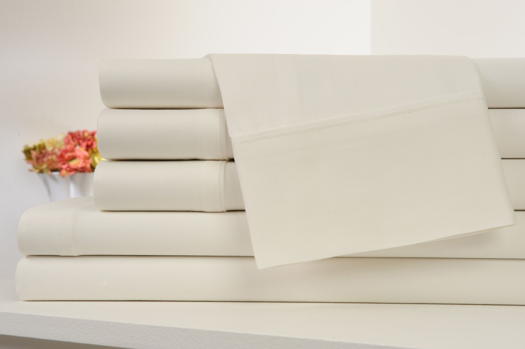 Kendele 400 Thread Count 100% Cotton Sheet Set Color: Ivory, Size: Queen