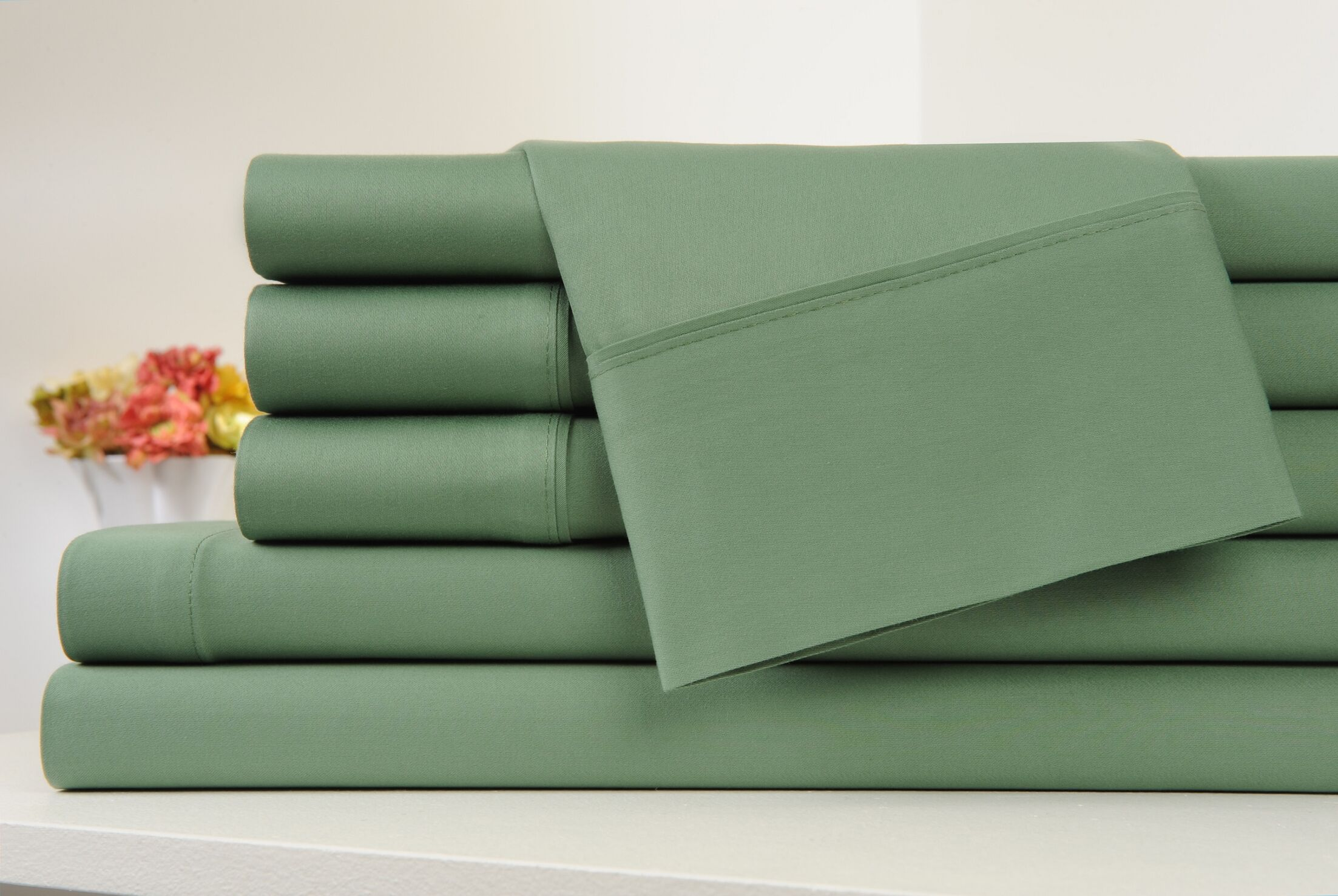 Kendele 400 Thread Count 100% Cotton Sheet Set Color: Sage Green, Size: Full