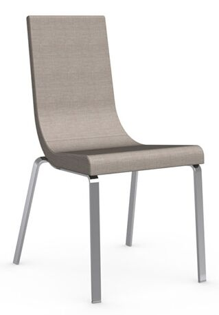 Cruiser Genuine Leather Upholstered Dining Chair Frame Color: Satin, Upholstery Color: Sand