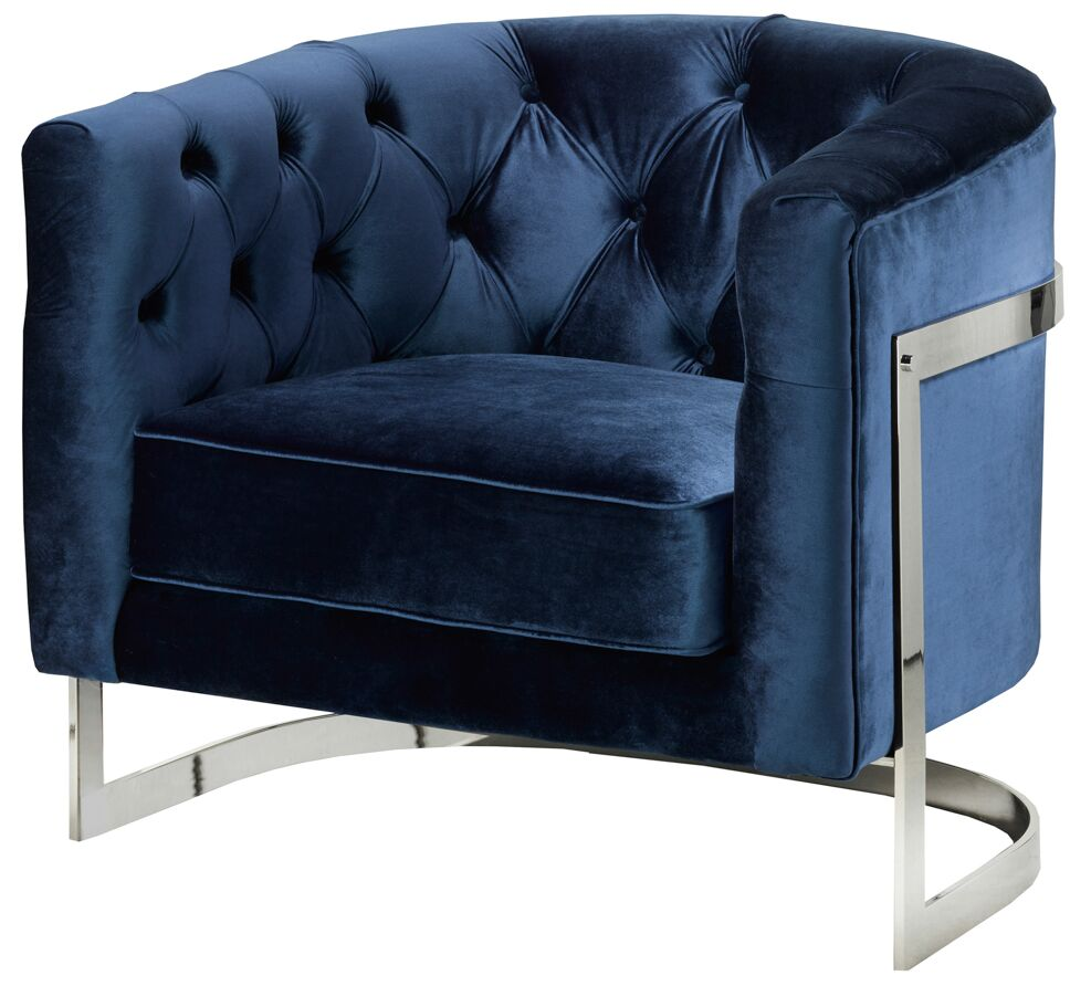 Botkin Frame Tufted Stainless Steel Barrel Chair Upholstery: Blue, Finish: Metal