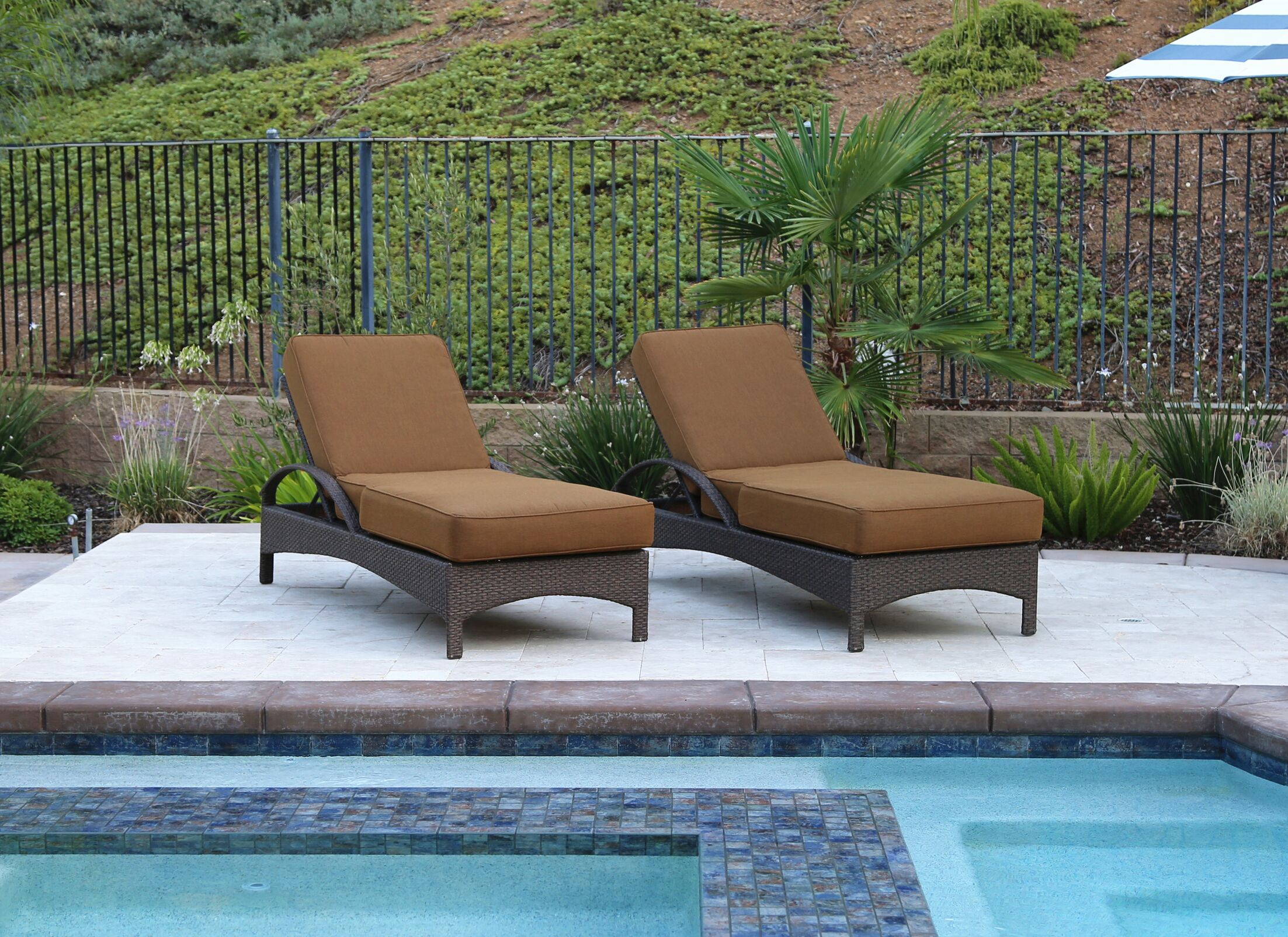 Meena Double Sun Lounger Set Group with Cushion