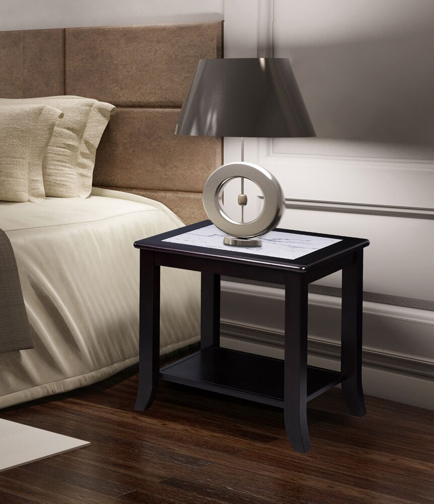 Chisholm Natural Marble Top Wood End Table Base Color: Black/White, Top Color: Calacatta