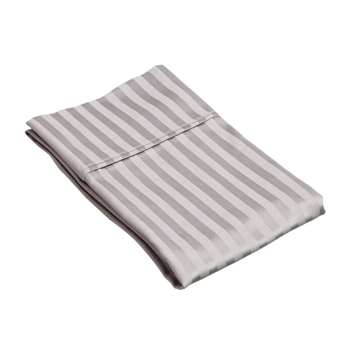 Holford 400 Thread Count Stripe Pillowcase Size: King, Color: Gray