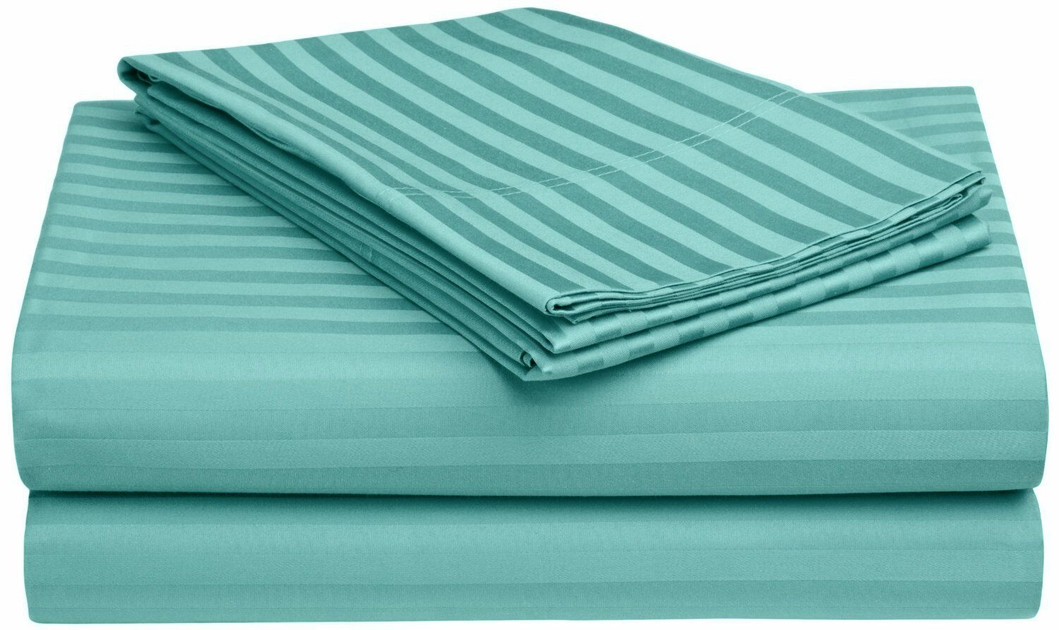 650 Thread Count Egyptian-Quality Cotton Queen Waterbed Stripe Sheet Set Size: Queen Waterbed, Color: Teal